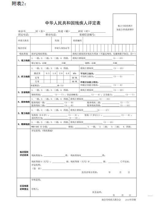 关于印发《南京市残疾人证管理实施办法》《南京市残疾人残疾类别等级评定工作办法》的通知插图(1)