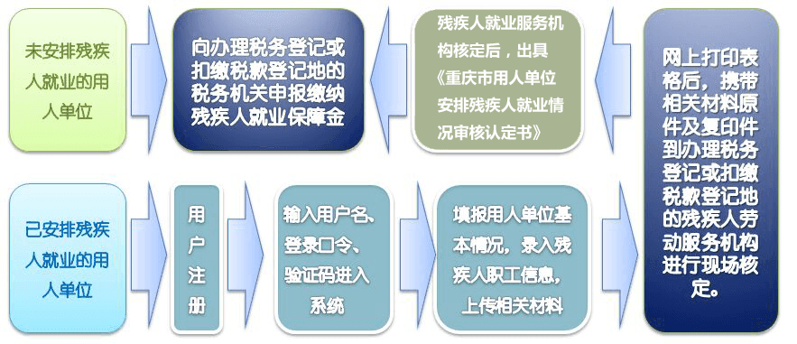 2020年重庆市按比例安置残疾人残保金申报审核流程图插图