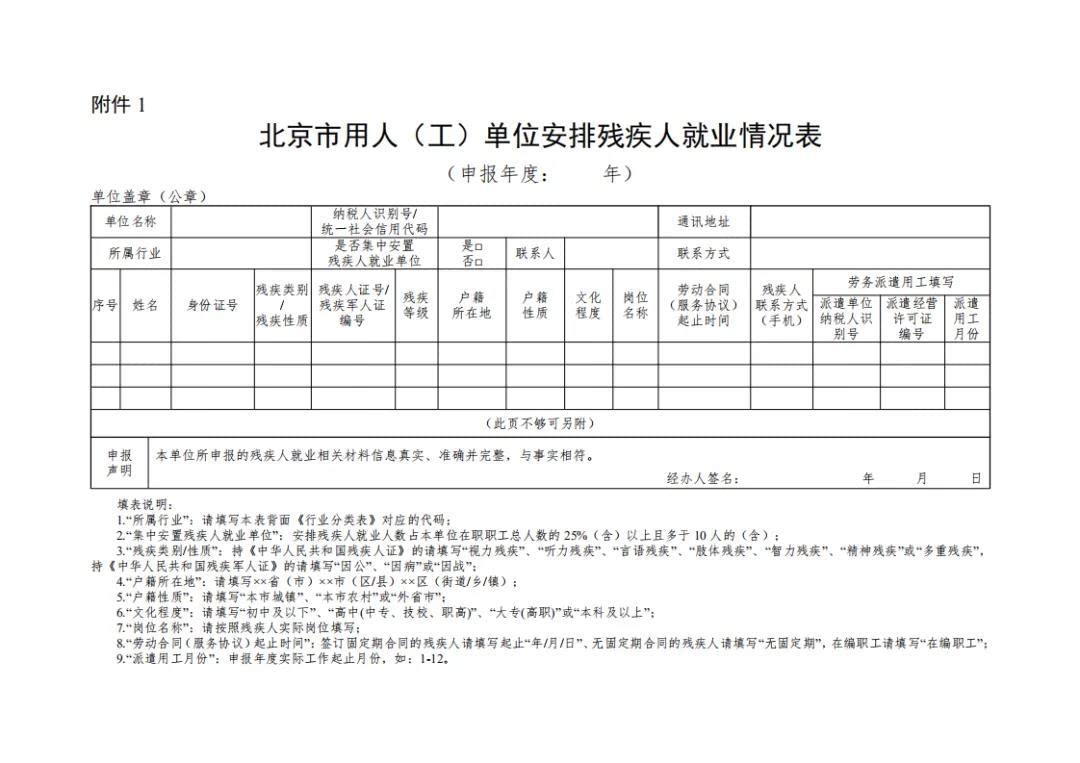 《北京市用人(工)单位安排残疾人就业情况表》