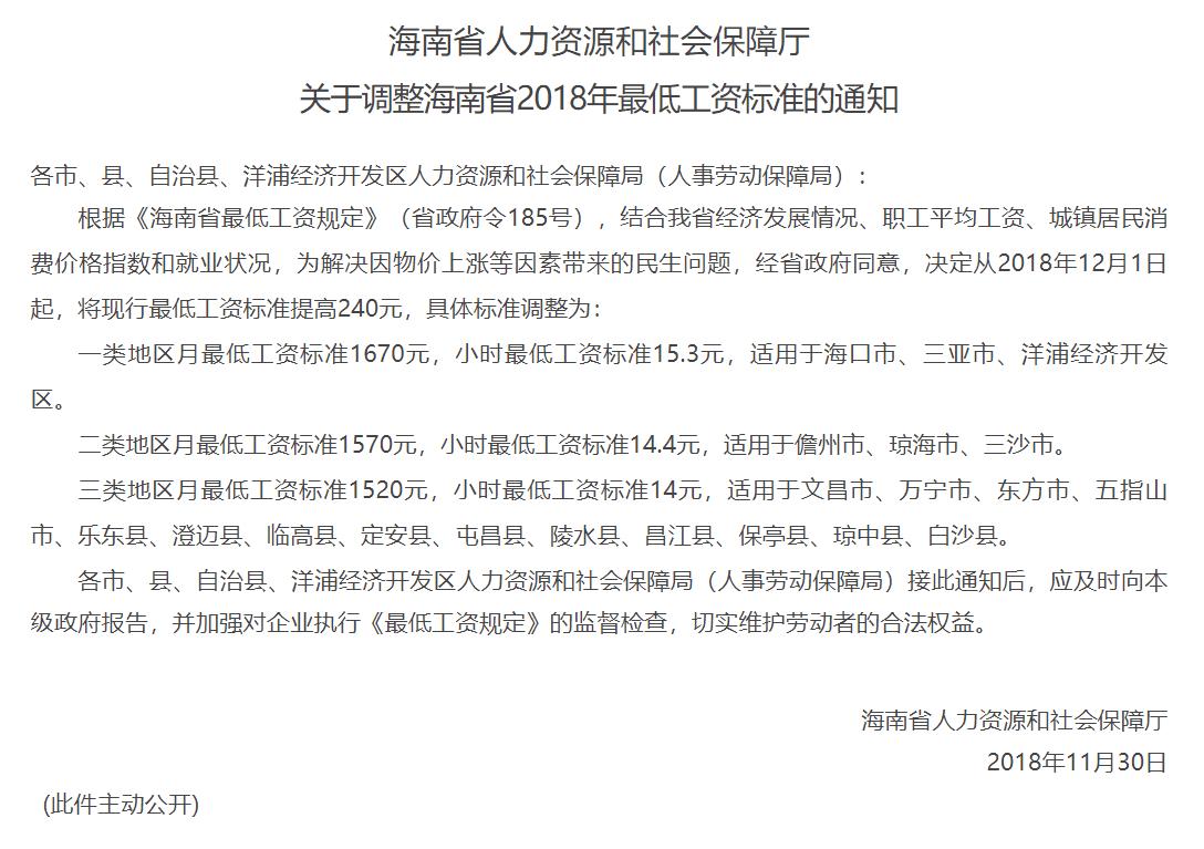 关于调整海南省2018年最低工资标准的通知