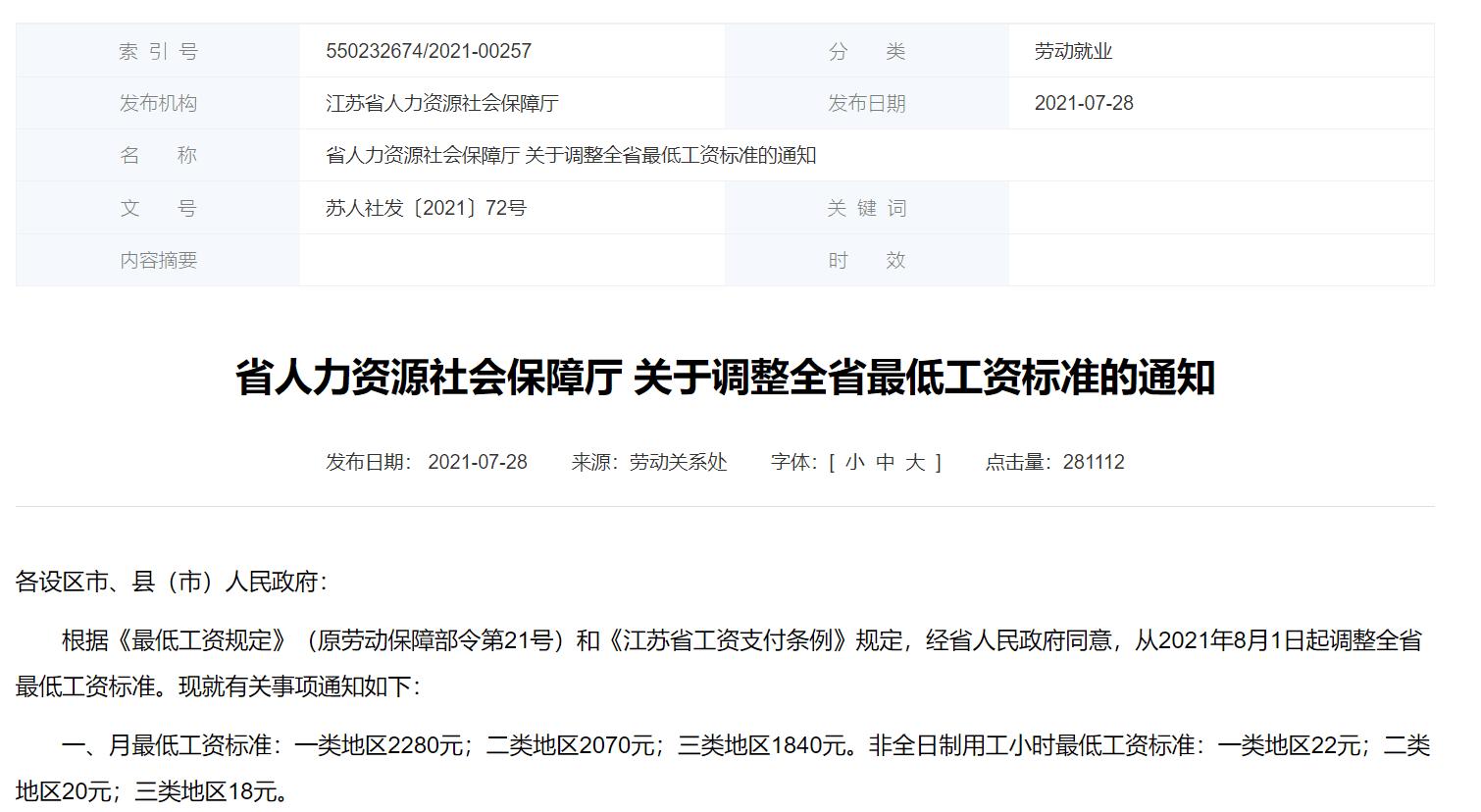 2021年江苏省关于调整全省最低工资标准的通知,最低工资上涨到2280元