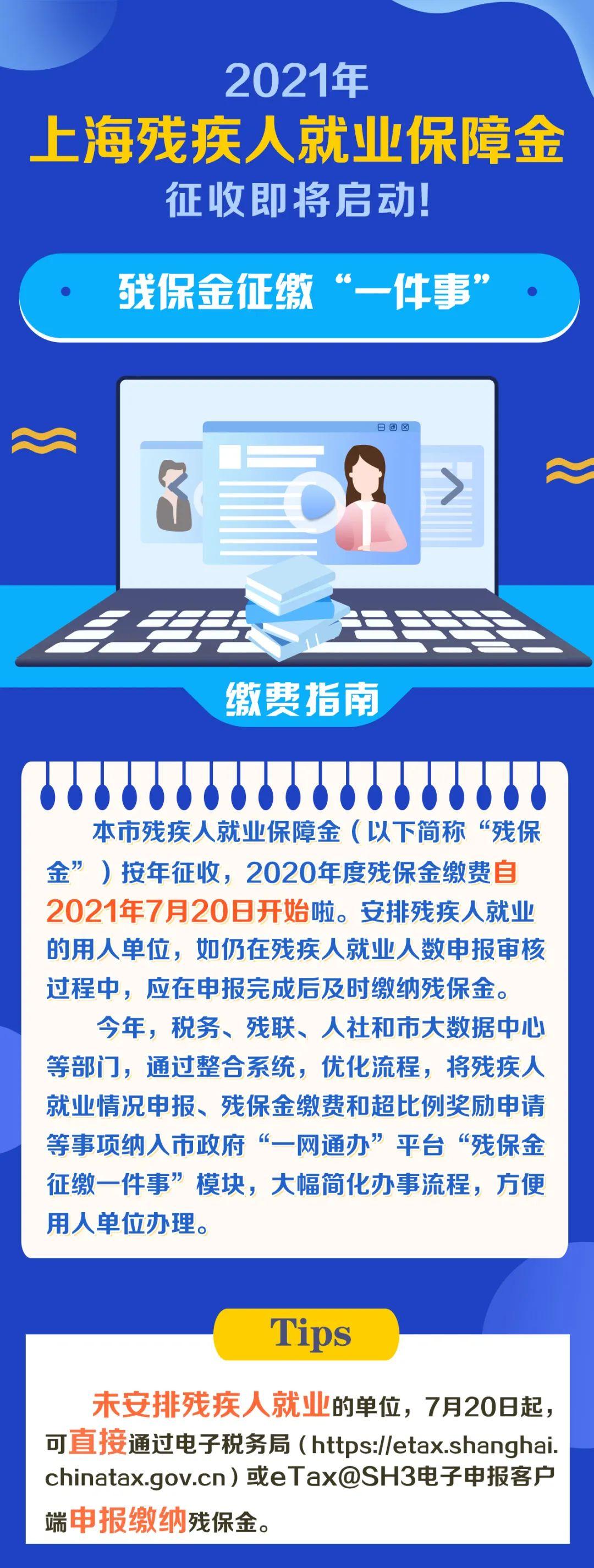 """2021年上海残疾人就业保障金今天开始征收!为您送上残保金征缴""""一件事""""缴费指南~插图"""